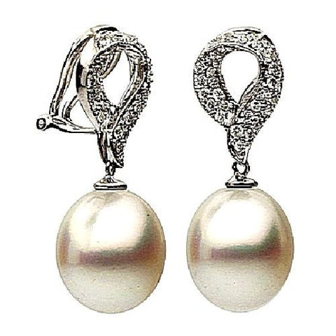 18kt White Gold South Seas Pearl and Diamond Earrings 11-12mm