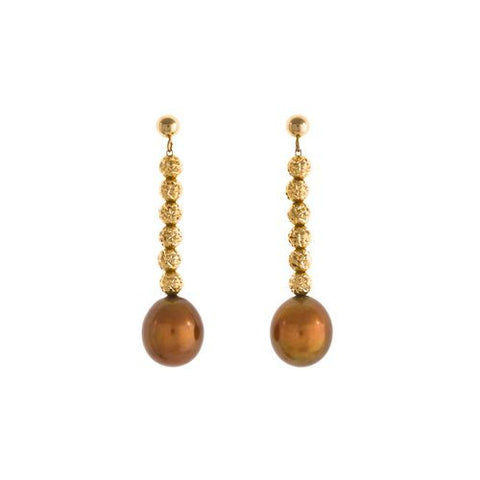 18kt Yellow Gold Beads and 10mm Chocolate Color Pearl Earrings