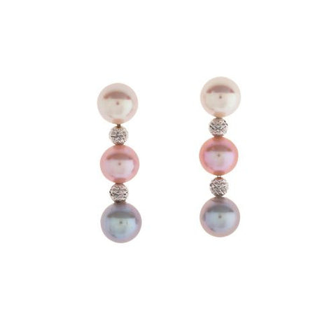 8.5mm Multi Color Pearl Earrings with 18kt White Gold Beads