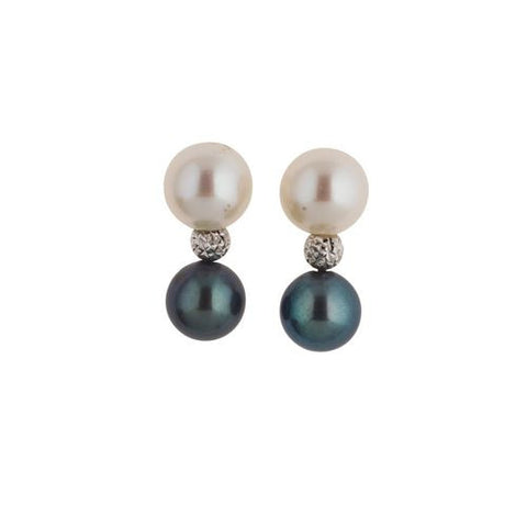 18kt White Gold Bead Earrings with 8.5mm Black and White Pearls