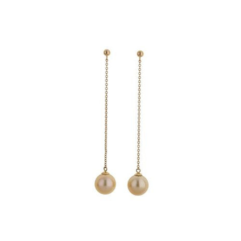 14kt Yellow Gold 12mm Golden South Sea Pearl Drop Earrings