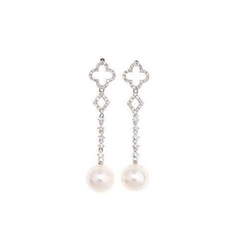 14kt White Gold Diamond and 9.5mm White Pearl Drop Earrings