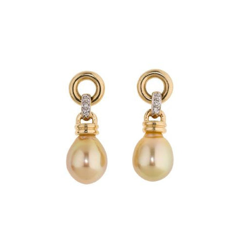 14kt Yellow Gold Earrings with 11mm Golden South Sea Pearls