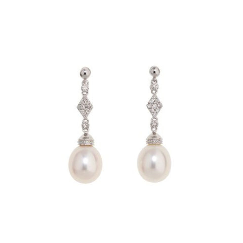 9mm Pearl Earrings set in 14kt White Gold with Diamonds