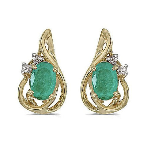 14kt Yellow Gold Oval Emerald and Diamond Teardrop Earrings