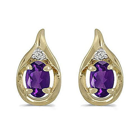 14kt Yellow Gold Oval Amethyst and Diamond Earrings