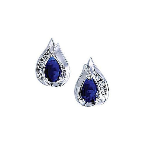 14kt Gold Diamond and Pearshape Sapphire Earrings 1.10ct TW