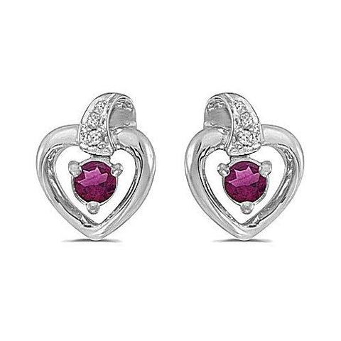 14kt White Gold Rhodolite and Diamond Heart Earrings