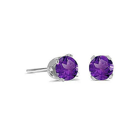 14k White Gold 4mm Round Amethyst Stud Earrings