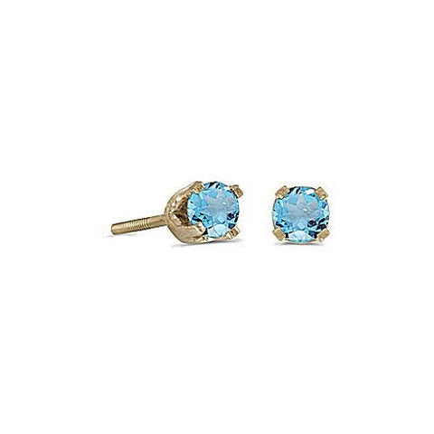 14kt Yellow Gold Blue Topaz Stud Earrings 3mm