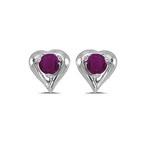 14k White Gold 3mm Round Ruby Stud Earrings