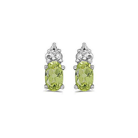14kt White Gold Oval Peridot Stud Earrings