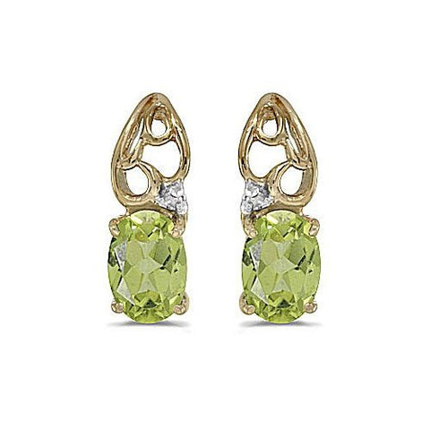 14kt Yellow Gold Oval Peridot and Diamond Teardrop Earrings