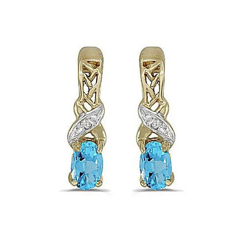 Oval Blue Topaz and Diamond 14kt Yellow Gold Earrings