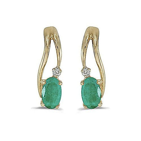 Oval Emerald and Diamond 14kt Yellow Gold Earrings