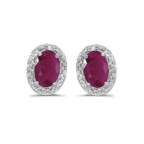 14kt White Gold Oval Ruby and Diamond Earrings 1.20ct TW