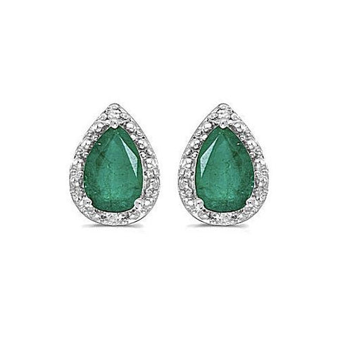 14kt White Gold Pearshape Emerald and Diamond Earrings
