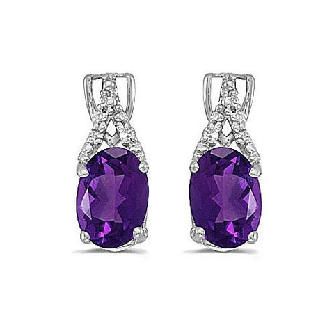 14kt White Gold Diamond and Oval Amethyst Earrings