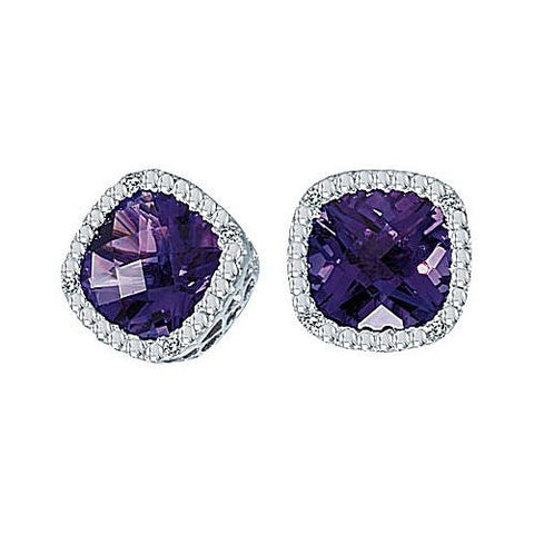 14kt White Gold Cushion Amethyst and Diamond Stud Earrings