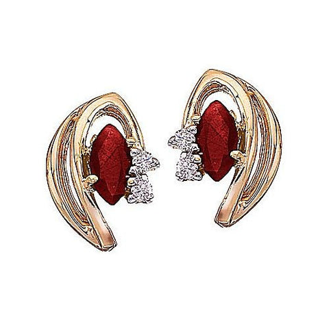 14kt Yellow Gold Marquise Ruby and Diamond Earrings