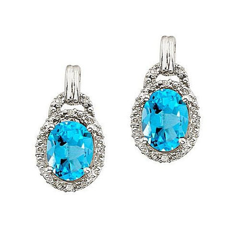 14kt White Gold Oval Blue Topaz and Diamond Earrings 3ct TW