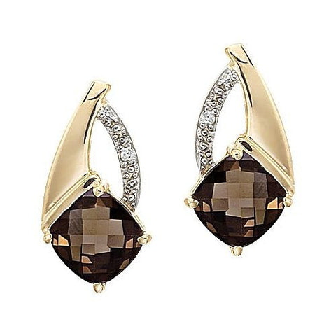 14kt Gold Cushion Smokey Quartz and Diamond Earrings 2ct TW