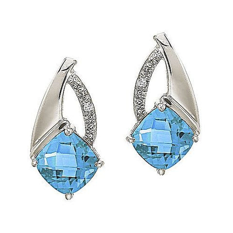 14kt Gold Cushion Blue Topaz and Diamond Earrings 2.50ct TW