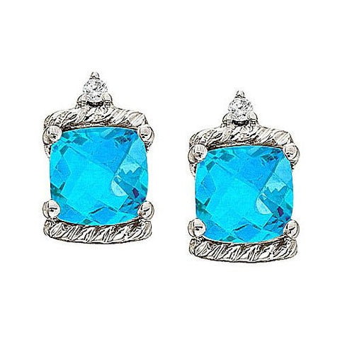 14kt White Gold Cushion Blue Topaz and Diamond Earrings