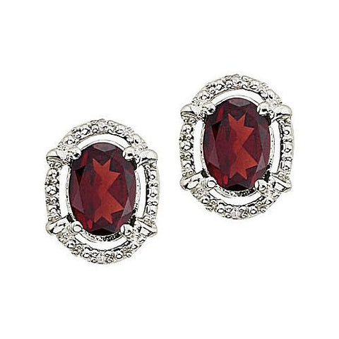 14kt White Gold Diamond and Oval Garnet Stud Earrings