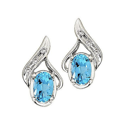 14kt White Gold Oval Blue Topaz and Diamond Earrings