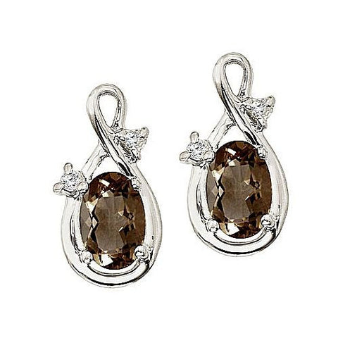 14kt White Gold Oval Smokey Quartz and Diamond Earrings