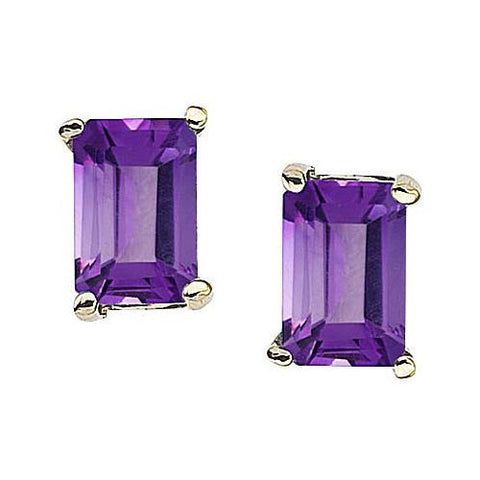14kt White Gold Emerald Cut Amethyst Stud Earrings