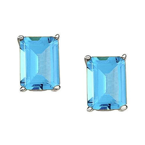14kt White Gold Emerald Cut Blue Topaz Stud Earrings