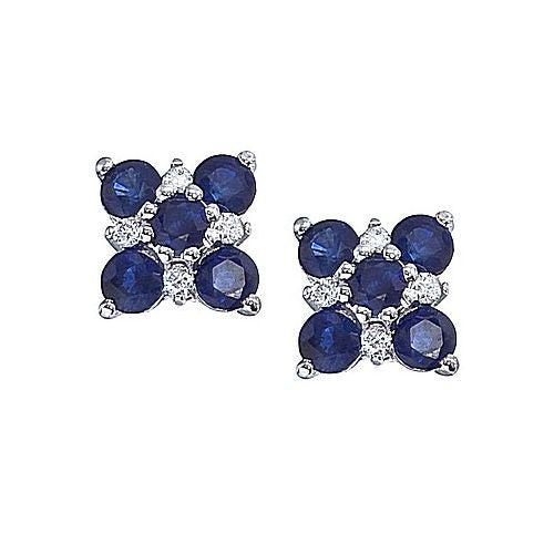 14kt White Gold, Blue Sapphire and Diamond Earrings