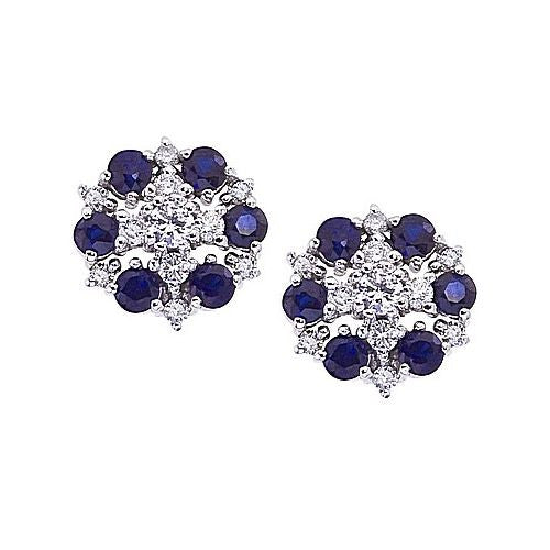 14kt White Gold, Blue Sapphire and Diamond Cluster Earrings