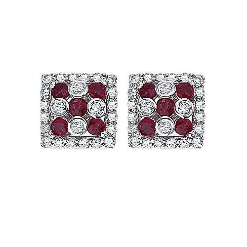 14kt White Gold Ruby and Diamond Earrings 0.86ct TW