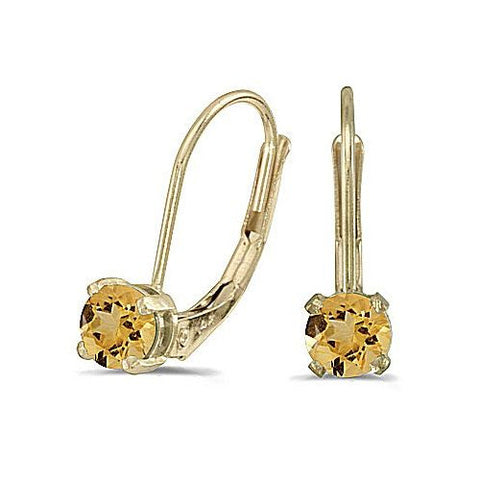 14k Yellow Gold Citrine Leverback Earrings
