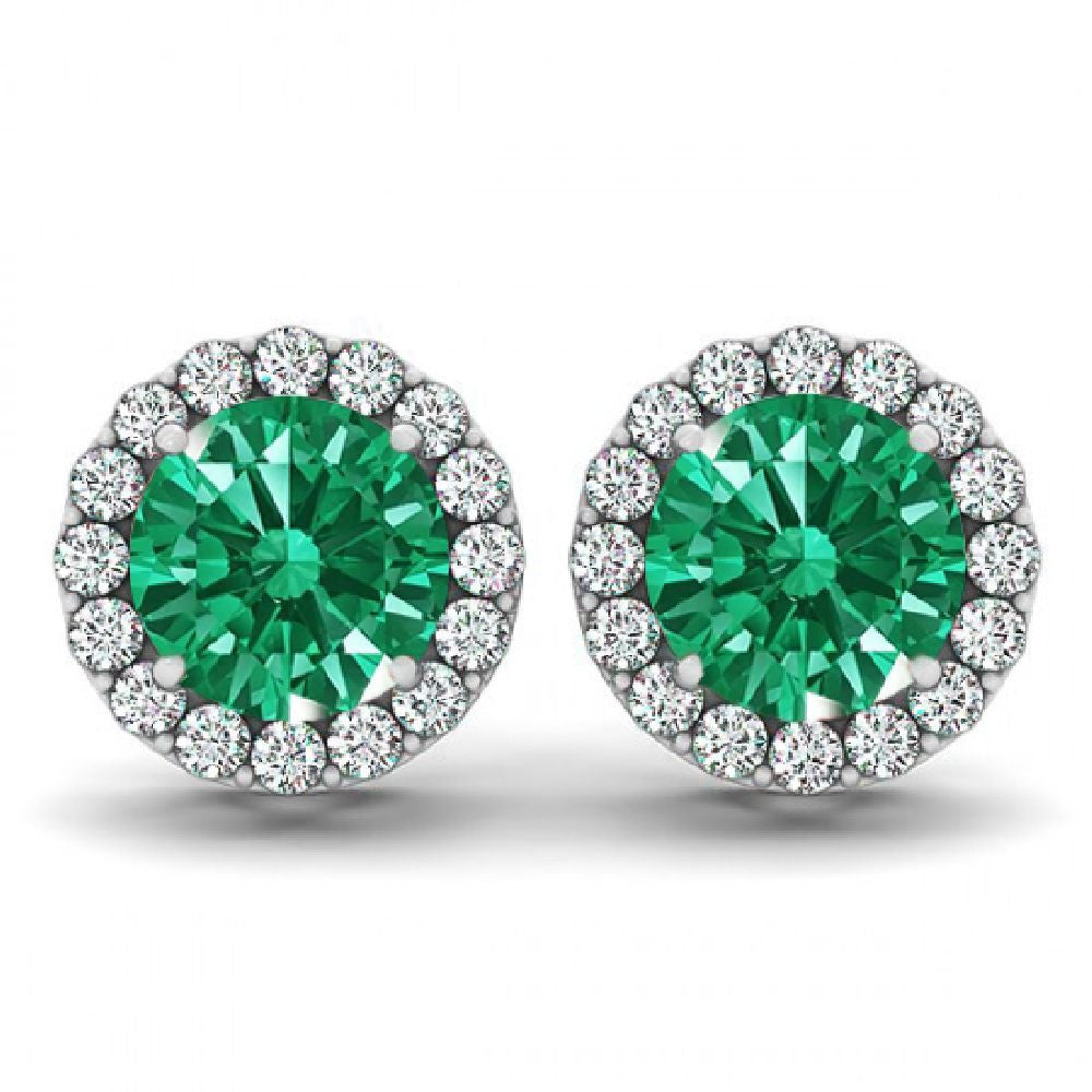 14kt White Gold Round Emerald and Diamond Halo Earrings 1.90ct TW