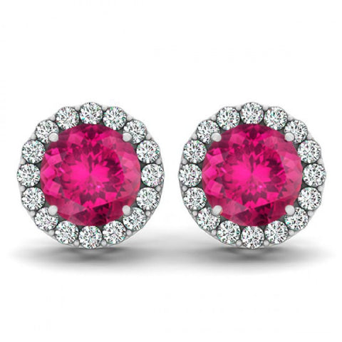 14kt White Gold Round Rubellite and Diamond Halo Earrings 1.15ct TW