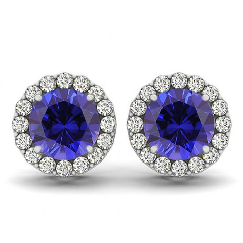 14kt White Gold Round Blue Sapphire and Diamond Halo Earrings 1.95ct TW