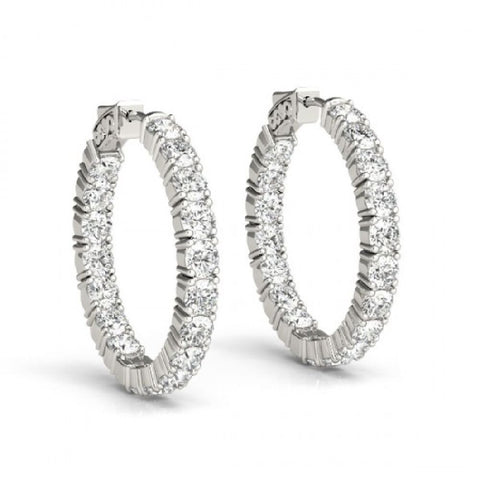 14kt White Gold Inside Out Sur-Lok Diamond Hoop Earrings 3.00ct TW
