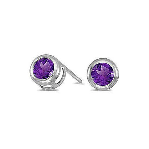 4mm Round Amethyst Stud Earrings 14k White Gold
