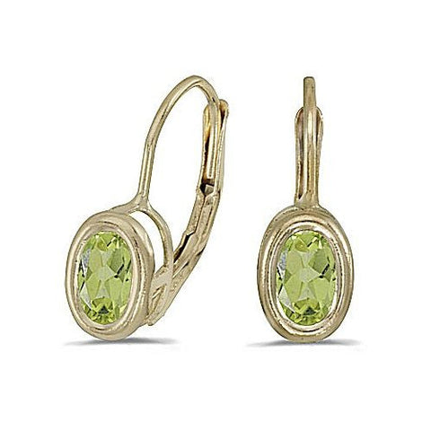 14k Yellow Gold Peridot Bezel Set Leverback Earrings