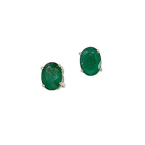 14kt Yellow Gold Oval Emerald Stud Earrings 1.50ct TW