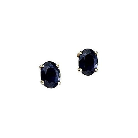 14kt Yellow Gold Oval Blue Sapphire Stud Earrings 1.50ct TW