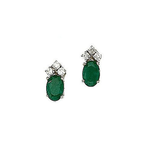 Oval Emeralds 0.90ct TW and Diamond 14kt Gold Earrings