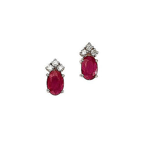 Oval Ruby 1.20ct TW and Diamond 14kt Gold Earrings