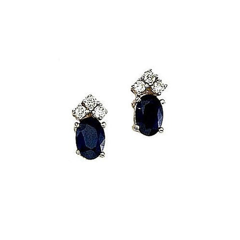 Oval Sapphires 1.20ct TW and Diamond 14kt Gold Earrings