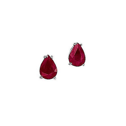 14kt White Gold Pearshape Ruby Earrings 1.50ct TW