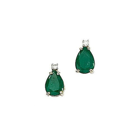 Pearshape Emeralds 1.30ct TW and Diamond 14kt Gold Earrings